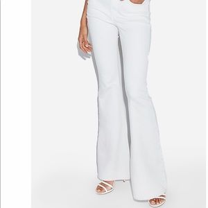 Express Jeans - Express High Waisted White Bell Flare Jeans